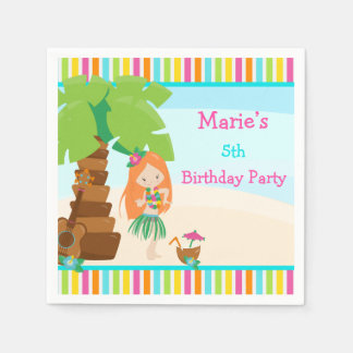 Aloha Red Hair Girl Party Paper Napkin