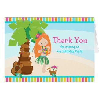 Aloha Red Hair Girl Thank You Card