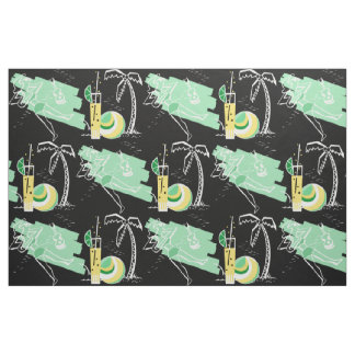 ALOHA: RETRO BEACH GRAPHIC in GREEN and YELLOW Fabric