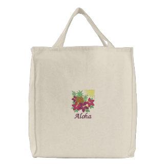 Aloha sac brodé par ananas de fleur de ketmie