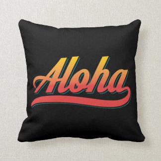 Aloha Script (Orange and Teal) Throw Pillow