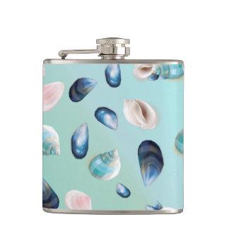 Aloha SeaShell Sea Shell Pearl Pattern Hip Flask