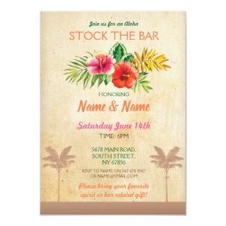 Aloha Stock The Bar Luau Vintage Palm Tree Invite