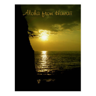 Aloha Sunset in Hawaii Postcard