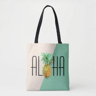 Aloha Text With Pineapple Tropical Geometric Back Tote Bag