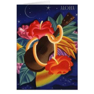 Aloha Thank You Card Hibiscus & Ukulele Night