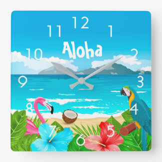 Aloha tropical beach with flamingo and flowers square wall clock