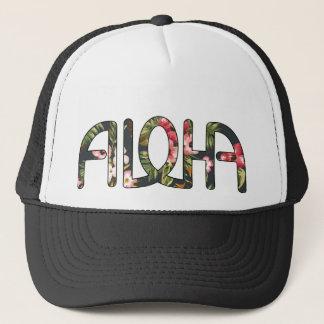 Aloha Tropical Black Trucker Hat
