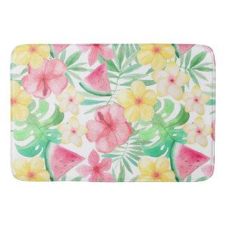 Aloha Tropical Exotic Flowers and Fruits Bath Mat
