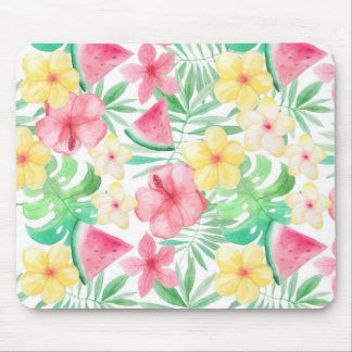 Aloha Tropical Exotic Flowers and Fruits Mouse Pad