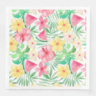 Aloha Tropical Exotic Flowers and Fruits Paper Dinner Napkin