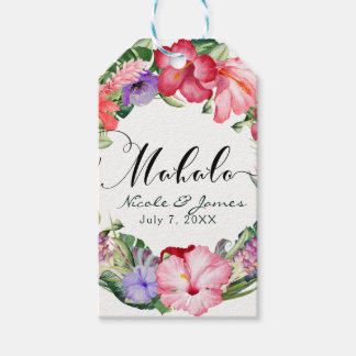 Aloha Tropical Floral Wreath Luau Wedding Party Gift Tags