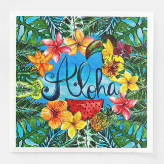 Aloha - Tropical Flower Food and Summer Design Paper Napkins