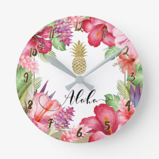Aloha Tropical Flowers Floral Chic Gold Pineapple Round Clock