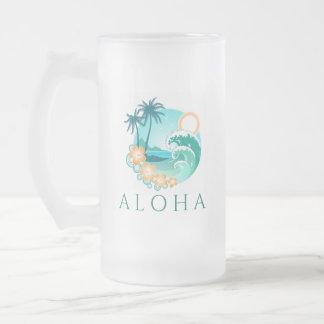 Aloha Tropical Frosted Glass Beer Mug