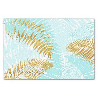 Aloha-Tropical Gold Metal Foil Aqua Palm Leaves Tissue Paper
