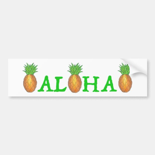 ALOHA Tropical Hawaii Pineapple Bumper Sticker
