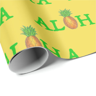 ALOHA Tropical Hawaiian Island Pineapple Fruit Wrapping Paper