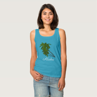 Aloha Tropical Hawaiian Palm Trees Caribbean Blue Tank Top
