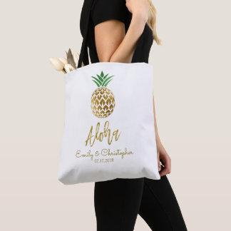 Aloha Tropical Hawaiian Pineapple Wedding Favor Tote Bag