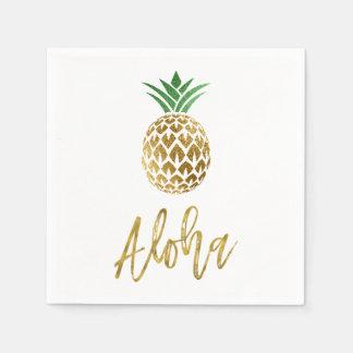 Aloha Tropical Hawaiian Pineapple Wedding White Paper Napkin