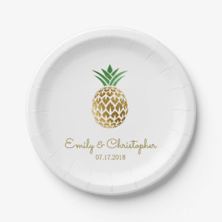 Aloha Tropical Hawaiian Pineapple Wedding White Paper Plate