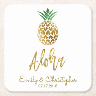 Aloha Tropical Hawaiian Pineapple Wedding White Square Paper Coaster