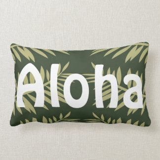 Aloha Tropical Island Green Ferns Lumbar Pillow