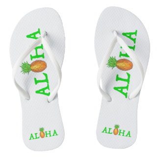 ALOHA Tropical Island Hawaiian Pineapple Flip Flop Flip Flops