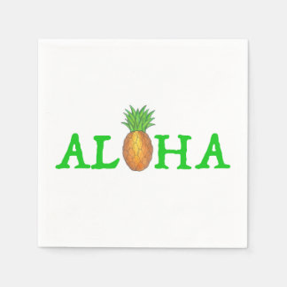 ALOHA Tropical Island Hawaiian Pineapple Napkins Disposable Napkins