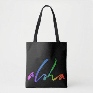 Aloha - Tropical Lettering - Black Hawaii Hawai'i Tote Bag