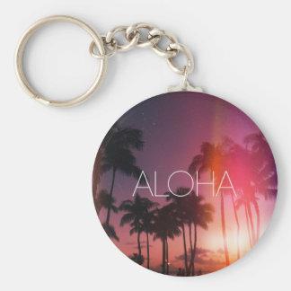 Aloha Tropical Night Basic Round Button Keychain