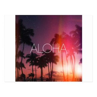 Aloha Tropical Night Postcard
