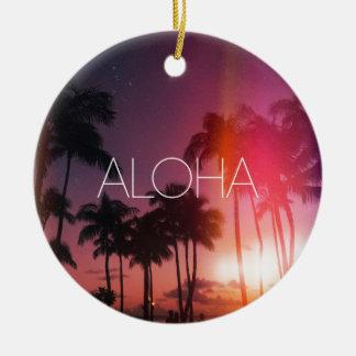 Aloha Tropical Night Round Ceramic Ornament