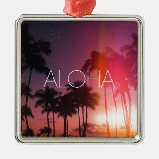 Aloha Tropical Night Silver-Colored Square Ornament
