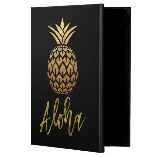 Aloha Tropical Pineapple Black and Gold Foil Case For iPad Air