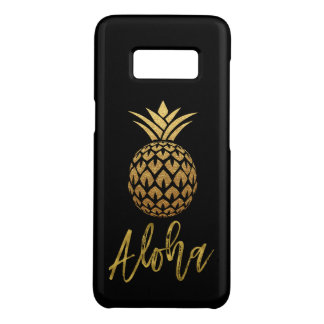 Aloha Tropical Pineapple Black and Gold Foil Case-Mate Samsung Galaxy S8 Case