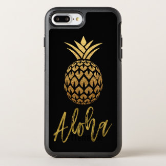 Aloha Tropical Pineapple Black and Gold Foil OtterBox Symmetry iPhone 8 Plus/7 Plus Case
