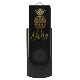 Aloha Tropical Pineapple Black Gold Foil USB Drive