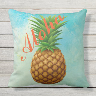 Aloha Tropical Pineapple Outdoor Throw Pillow