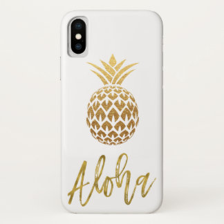 Aloha Tropical Pineapple White and Gold Foil iPhone X Case