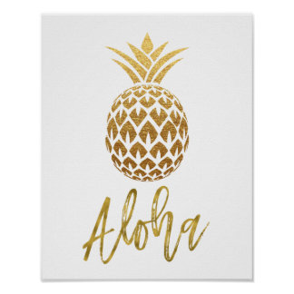 Aloha Tropical Pineapple White and Gold Foil Poster