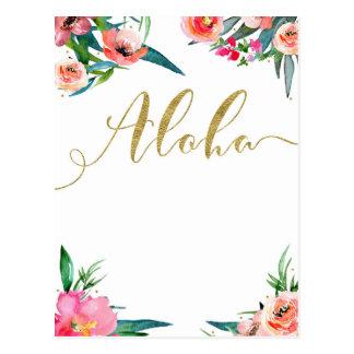 Aloha Tropical Summer Floral Modern Save the Date Postcard