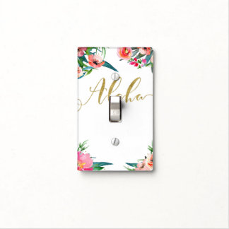Aloha Tropical Summer Floral Modern Watercolor Light Switch Cover