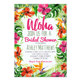 Aloha Tropical Watercolor Shower invitation