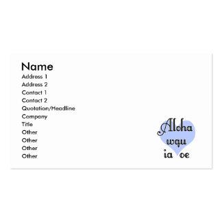 Aloha wau ia 'oe - Hawaiian I love you (4) Blue He Business Card Templates