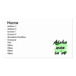 Aloha wau ia 'oe - Hawaiian I love you Green Kisse Business Card