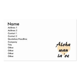 Aloha wau ia 'oe - Hawaiian I love you Peach Heart Business Cards