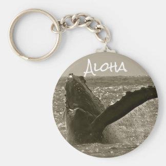 Aloha Whale Basic Round Button Keychain