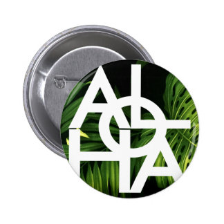 Aloha White Graphic Hawaii Palm 2 Inch Round Button